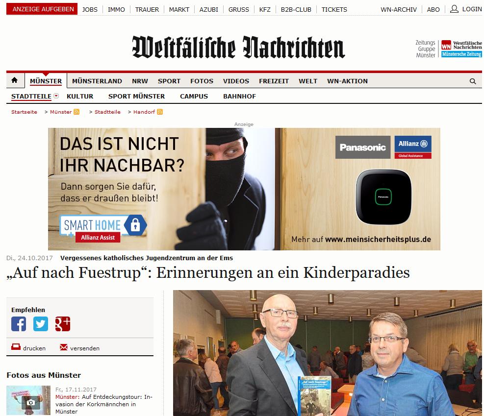 """WN vom 24.10.2017: """"Auf nach Fuestrup!"""" - Erinnerungen an ein Kinderparadies"""
